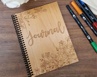 Wood Notebook - Journal with Cherry Blossom Border - Laser Engraved Wood - Lined or Blank Pages
