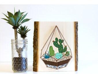 Succulent wall art, succulent decor, cactus wall art, string art, succulent painting, succulent sign, succulent art, wood slice painting