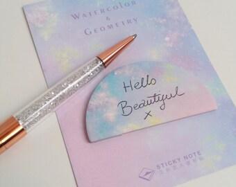 Pretty Watercolour Sticky Notes - Crescent