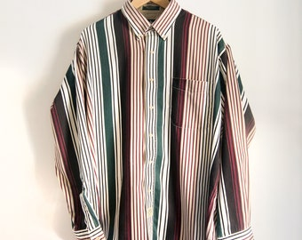 Sz. L / XL Hunt Club Vertical Stripe Longsleeve Buttondown 90s Vintage Fresh Prince Maroon Hunter Green Cream Navy Men's Dress Shirt X-Large