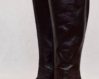 Vintage 1970's Jean HUgE PLATFORM TaLL Sky High Brown Leather HiPPiE DiScO BoHo BooTs Size 7 1/2 7.5 / 8  US  38 EU