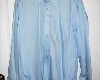 """99 CENT SAlE Vintage 1960s Men's Blue Long Sleeve Shirt Excello by Roberts Bros Medium 16"""" Neck Now .99 USD"""