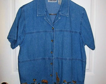 Vintage Ladies Animal Embroidered Denim Shirt by Cabin Creek Large Only 9 USD