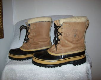Vintage Mens Insulated Waterproof Duck Boots by Sorel Caribou Size 10 Only 40 USD