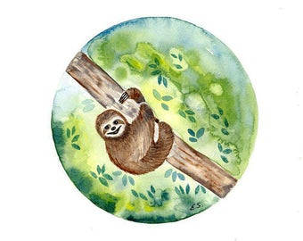 Original Watercolor painting Sloth Lazy animal art illustration Jungle forest amazon Funny and cute