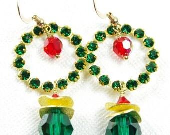 Swarovski Crystal Earrings Christmas Holiday Wreath Red Green Bead Gold Filled Dangle Hoop Ring Circle Vintage Rhinestone Handmade Jewelry