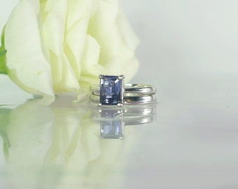 Purple Wedding Set, Iolite Ring, Gemstone Wedding Set, Purple Gemstone Ring, Iolite, Iolite Silver Ring, Unique Gemstone Wedding Set,