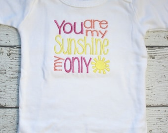 Girls Take Home Outfit, You are my Sunshine Newborn Girls, Baby Girls Coming Home Outfit, Embroidered Girls Baby Shower Gift  Ready To Ship