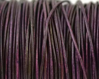 1mm Natural Purple Leather Round Cord - Distressed Matte Finish