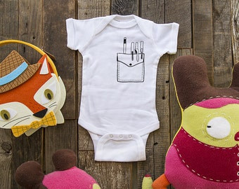 Nerd Geek School pocket 1 - graphic printed on Infant Baby One-piece, Infant Tee, Toddler T-Shirts - Many sizes