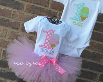 Boy/Girl Twin Ice Cream Themed Birthday Outfits-Ice Cream Party Tutu Set-Twin Ice Cream Party-Twin Snowcone Party