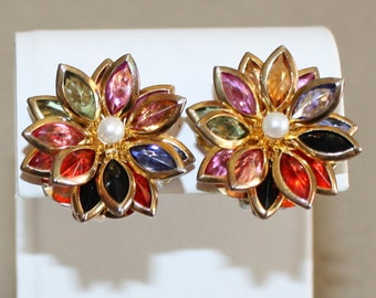 Vintage Multi Colored, Faceted Glass and Faux Pearl, Flower Earrings