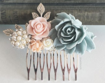 Pastel Wedding Hair Comb, Bridal Hair Pin, Personalised, Floral Hair Slide, Gray Blue, Blush Pink, Pearl, Silver Leaves, Bridesmaid Gift