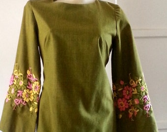 60s dress with fab floral embroidery