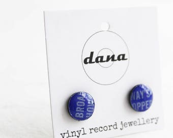 record studs blue ear posts blue stud earrings small post earrings 10 mm blue earrings vinyl record jewelry eco-friendly gift idea for her