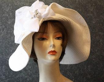 NEW LOWER PRICE! Kentucky Derby Hat, Garden Party Hat, Tea Party Hat, Easter Hat, Church Hat, Wedding Hat, Derby Hat, hat  White Hat 373