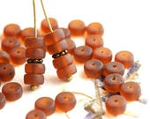 Seaglass Brown Topaz Rondelle beads, 6x3mm pressed czech glass matte brown spacers - 40Pc - 2216