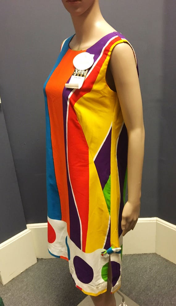 Vintage 1960s Deadstock Multi Color Hand Screened Cotton Shift Dress by Miss Elaine Medium
