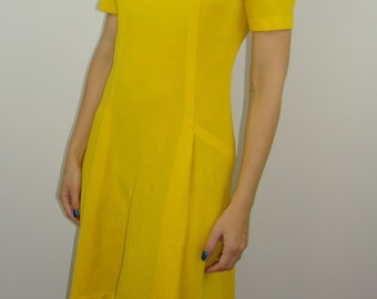 bright yellow MOD SCOOTER DRESS 1960's 1970's S