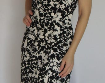 BLACK and WHITE PIQUE 1960's dress S