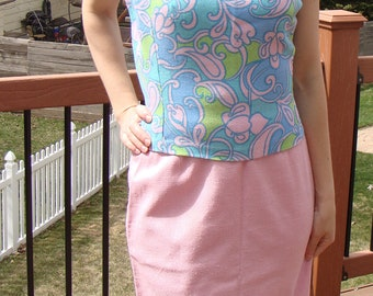 vintage 1960's WOVEN PASTEL SHELL paisley M