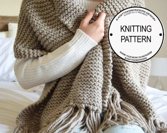 Ultimate Blanket Scarf Knitting Pattern / Chunky Thick Warm Scarf Shawl / Easy Beginner Knitting Pattern / Knitting Tutorial, PDF Download
