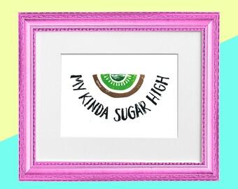 "Original Handmade Lino Cut Art Print - Signed & Mounted - 12x10"" - 'My kinda sugar high' - Kiwi Fruit - Straight Edge -Vegan - Gold"