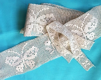 Antique Lace Vintage Lace 19th C French Filet Lot Handmade Cotton Lacis Lovely Butterfly Design Great Sewing Supply
