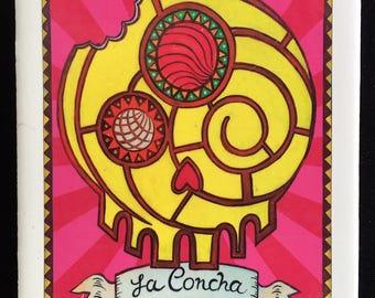 La Concha (The Shell Sweetbread) Ceramic Tile Coaster -  Loteria and Day of the Dead skull Dia de los Muertos calavera designs
