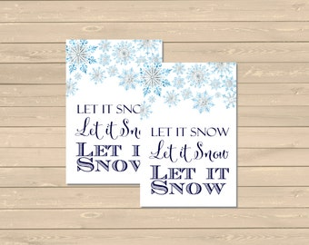Let it Snow Printable Christmas Gift Tags, Printable Snowflake Tags, Let it Snow Gift Tags, Holiday Label, Gift Wrap Instant Download 204-XM