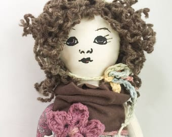 SALE Curly Haired Pixie Doll, Handmade Doll, Cloth Doll, Natural Materials, Fabric Doll, Ragdoll, Waldorf, Nursery Decor, Cloth Toy, Doll