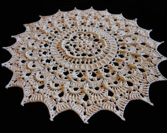 Cream colored 12 inch highly textured hand crochet lace doily
