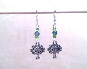 Tree Charm Dangle Earrings, Green Glass Bead & Peridot Crystal Silver Tree Charm Earrings, Glass Bead Earrings, Handmade Beaded Jewelry