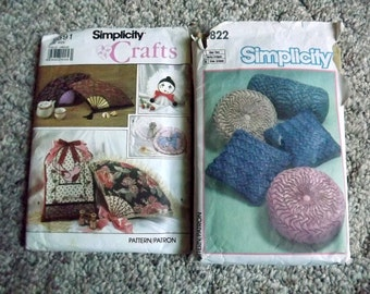 Simplicity Crafts 9591 and Simplicity 6822, Two Uncut Pillow patterns, Novelty shapes, fan, birdcage, Sewing pattern, home decor, purse