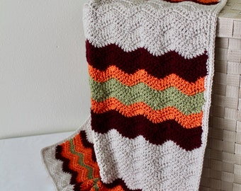 Baby Blanket and Stuffed Octopus - Crochet Baby Chevron Afghan - Browns, Orange, and Green