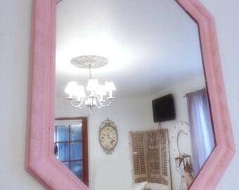 PinkShabby Mirror Vintage Ornate Distressed Chalk Painted Pink