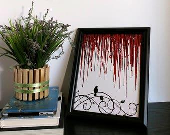 "Red Art Print - Bird Art Print - Bird On A Wire - Dripping Color - 8""x10"" Art - Swirl Art Print - Red and White - Swirls - Home Decor"