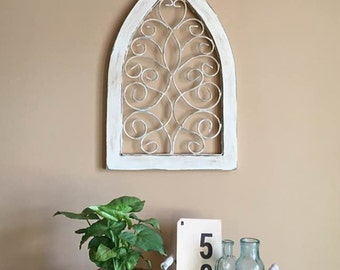 Window Distressed in White / Wall Hanging / Iron Catheral Window