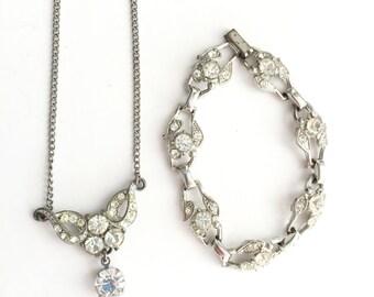 BEAUTIFUL Antique Bridal Set- Vintage Rhinestone Necklace and Bracelet