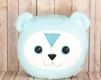 Turquoise Bear Pillow, Blue Teddy Bear Plush Toy, Kids Cushion, Nursery Decor Teddy Bear Baby Shower Gift, Minky Soft Stuffed Bear Pillow