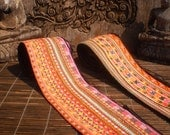 RESERVED FOR AKOSUA  Embroidered Straps, Tribal Textile, Set Of 2, Hmong Textile, Hmong Vintage Textile, Vintage Straps, Embroidered Textile