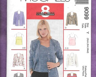Vintage 1990's McCall's 9099 Misses' Camisole Top and Cardigan Jacket To Match, Sizes Extra Small, Small, Medium, (4-14)