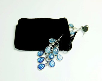 Black Velveteen Jewelry Pouches With Drawstring Closure -New- Set of Ten