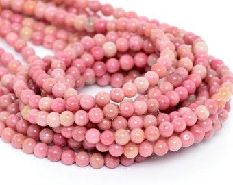 "4MM Haitian Flower Rhodonite Beads Grade AAA Natural Gemstone Full Strand Round Loose Beads 15"" BULK LOT 1,3,5,10 and 50 (100074-270)"
