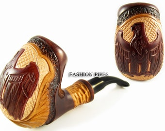 "Pipe Tobacco Smoking ""GERMAN EAGLE"" Pear Wood Pipes Wooden Handcrafted Exclusive Design and Pouch GiFt"