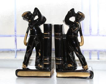 Vintage Golfer Bookends Black and Gold 1950s