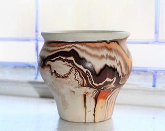 Vintage Nemadji Pottery Vase Southwestern Decor Brown Swirls