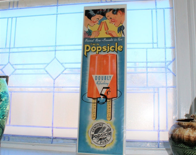 Vintage 1930s Popsicle Sign Ice Cream Sign