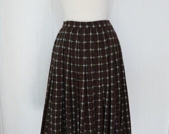 50's Atomic Starburst Wool Rainbow Tweed Full Skirt Winter Pin Up Gathered Skirt XS S