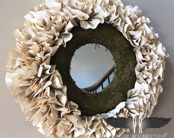 French Paper Wreath Mirror